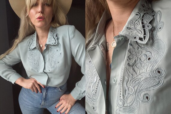 90s Cut Out UK 14 Statement Lace Collar Pale Ducke