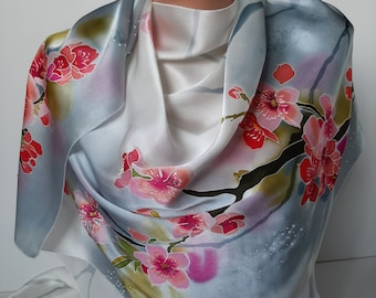 Hand Painted Long Silk Scarf Cherry Blossoms.