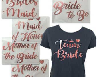 Metallic Rose Gold Iron On Heat Transfers personalized names custom prints and shirts
