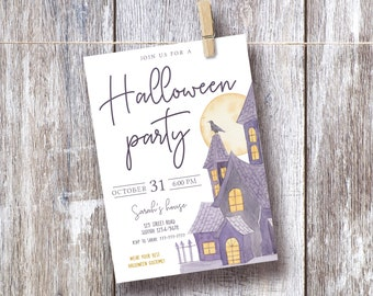Halloween Party Invitation, EDITABLE Invitation Printable, Halloween Party Invite, Printable Invitation, Corjl, HL01