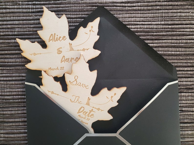 Personalized wood Engraving Save the Dates. Rustic Wooden Leaf Save the Date Magnet with Envelopes