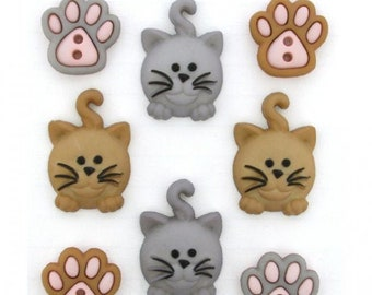 CUTE NOVELTY CAT FACE BUTTONS 3 COLOURS PACK OF 5