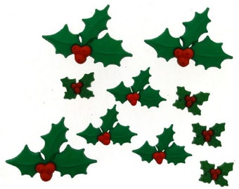 Holly Jolly Christmas ~ Dress It Up Christmas Embellishment Buttons ~ Jesse James Novelty Craft Buttons Theme Pack