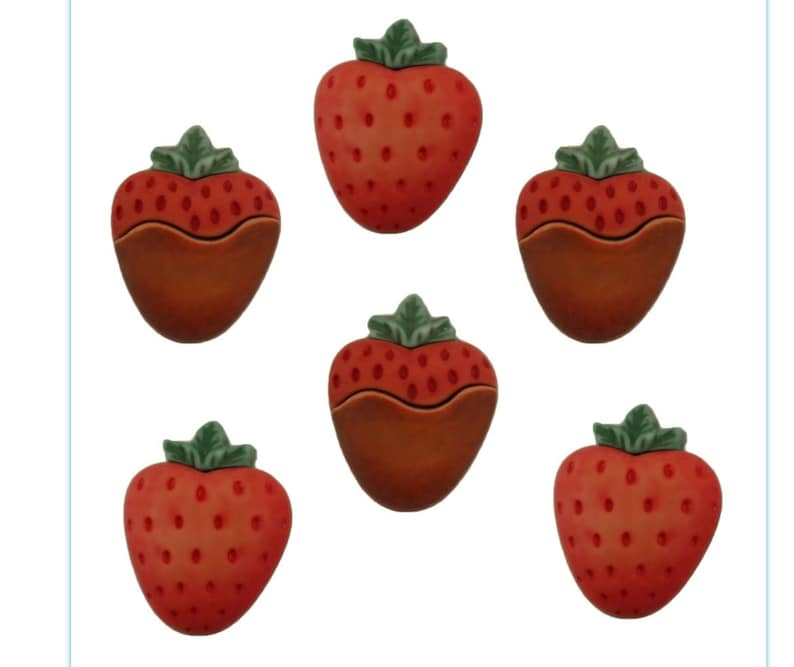 Strawberries ~ Fruit  Snacks  Sweets ~ Buttons Galore Embellishment Buttons ~ Novelty Theme Pack