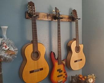 Whiskey Barrel Stave 3 Guitar Holder, Whiskey Barrel Stave Guitar Wall Mount, Guitar Hanger, Guitar Rack, Rustic Guitar Hanger