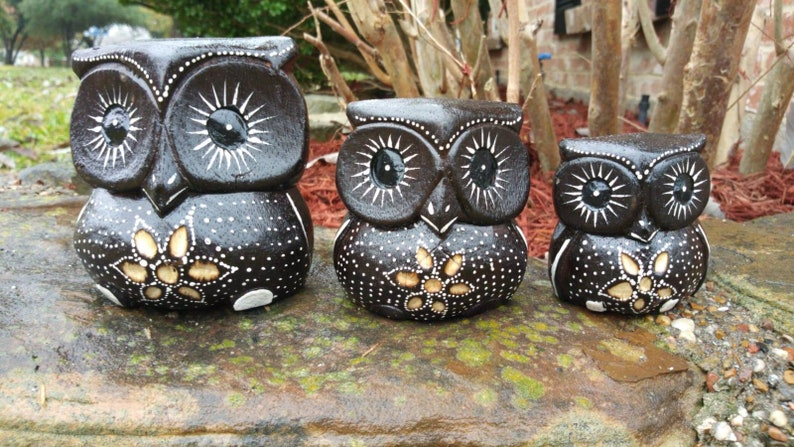 Hand Carved Wooden Owl Family Statue Sculpture Set of 3 4 Tall