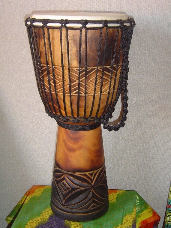 Model # 65m21 Extra Large 26 Tall Djembe Deep Carved Hand Drum DRAGONS