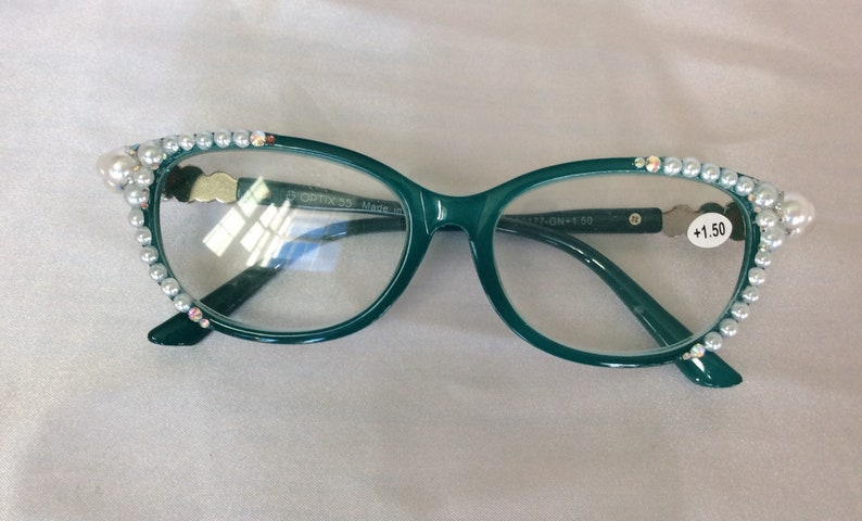 Blue, Swarovski crystal and pearl embellished, womens reading glasses.  Strength, 1.50