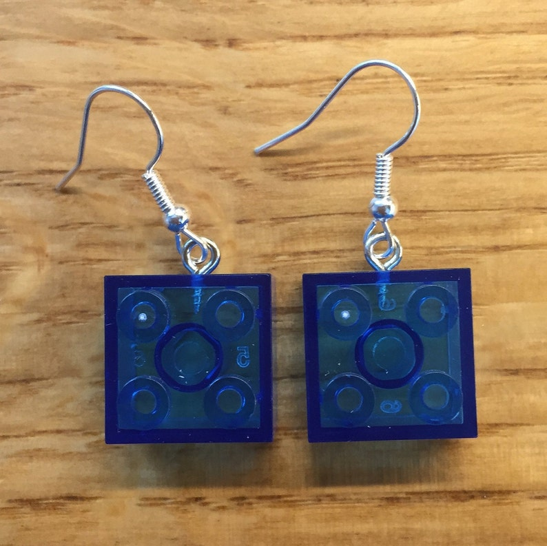 Transparent blue brick earrings