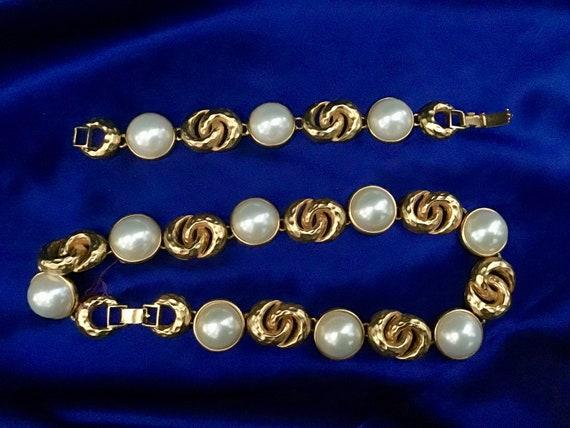 gold jewelry set Hammered gold necklace and bracelet set vintage gold tone necklace