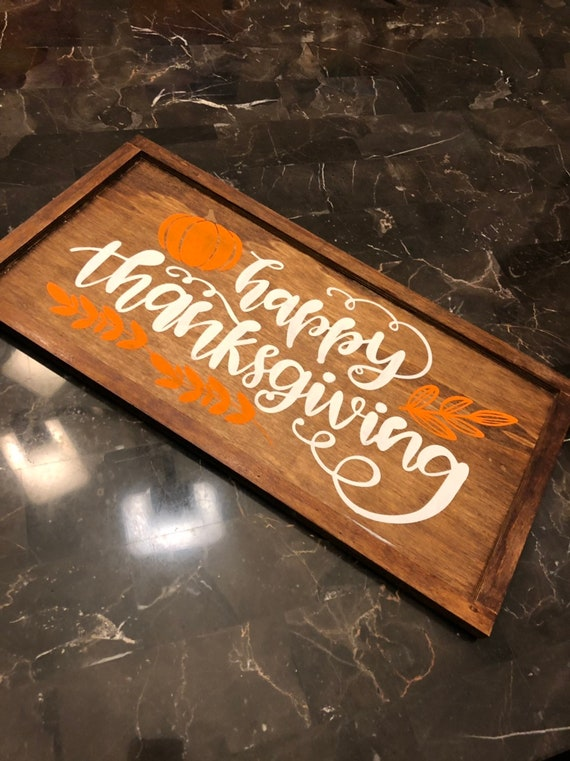 Handmade HAPPY THANKSGIVING wood sign. Hanging wall art hand painted and stained.