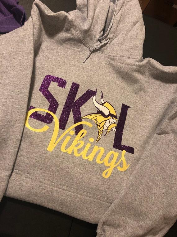 Skol Vikings Glitter Hoodie - Gray - Minnesota Vikings