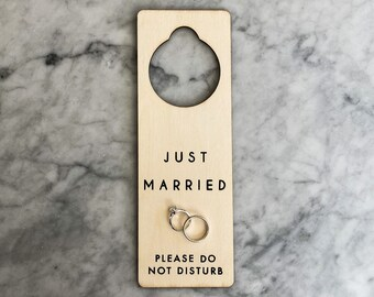 Etched into Birch Wood Door Hanger Sign Just Married With Couple/'s Initials