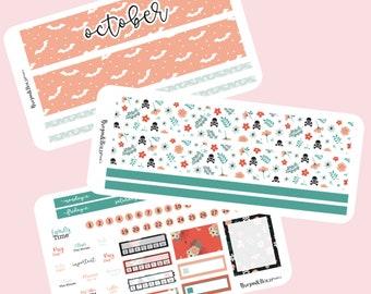 Halloween monthly planner sticker kit 7X9 planner