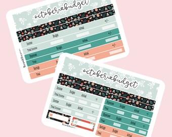 Halloween budget planner sticker sheet- 7X9