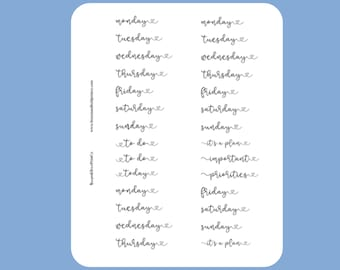 Heart Days of the Week Script Stickers for A5 Planner