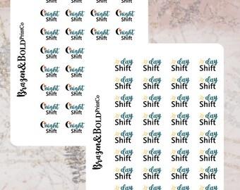 Dayshift/ Nightshift planner icon stickers