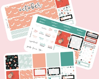 Halloween floral and spiderweb Monthly planner sticker kit A5 planner