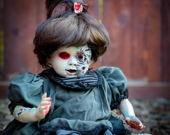 Creepy Doll MYCENA Zombie Doll Halloween Decoration Collectors Artist Doll Re-Painted Porcelain Doll Evil Scary Horror Doll Monster Doll