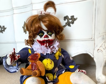 Creepy Clown Doll GRACY Halloween Decoration Collectors Artist Doll Re-Painted Porcelain Doll Evil Clown Horror Doll Monster Doll Big Doll