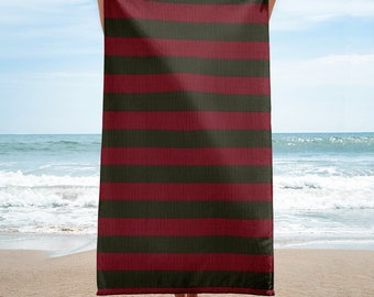Freddy Krueger Sweater inspired Beach Towel 30x60 Beach Towel Horror Lover Gift Knit Pattern Towel Halloween Party Decor Horror Movie Lovers