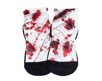 Blood Splatter Ankle Socks Bloody Halloween Socks Friday 13th Party Favor Blood Stain Socks Zombie Halloween Socks Creepy Socks Horror Lover