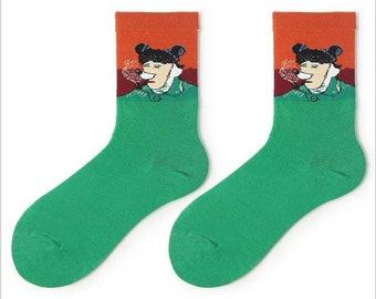 funky socks,unique patterns colourful socks Gift Ideas unisex socks Creative White Hug Heart Esigned novelty socks cool socks