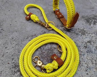 Buy it now! Dog leash set made of paracord and fat leather in yellow and cognac. Adjustable collar 38 - 43 cm