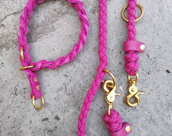 Buy it now! Fat leather collar (34 cm) braided in fuchsia with matching paracord leash