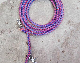Dog leash as shoulder leash, 3 m, triple adjustable in the colors NeonOrange, electrifying purple and the color mix Nebula