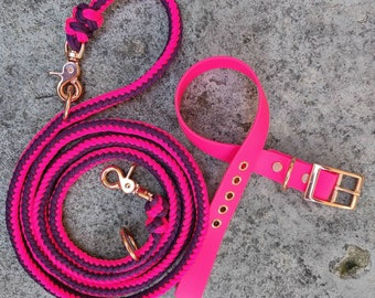 Dog leash set made of Paracord and BioThane in pink mix, adjustable collar 37 - 43 cm