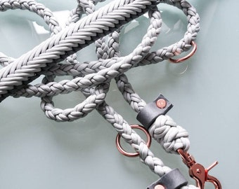 Silver grey dog leash Set of paracord and leather with rose fittings and adjustable collar as desired