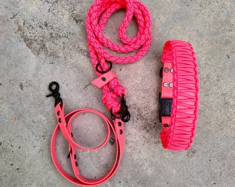 Immediate purchase: Adjustable dog leash with dog collar made of Paracord and BioThane in salmon pan for a neck circumference of max. 49 cm.