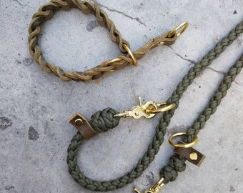 Buy it now! Fat leather collar (31 cm), braided in olive with matching paracord leash