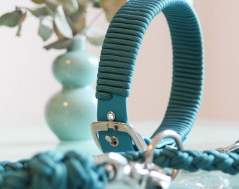 BioThane Paracord LinenSet in Blue-green/Teal, silver fittings, adjustable