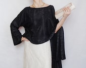 Asymmetric black blouse top long sleeve Oversized Top