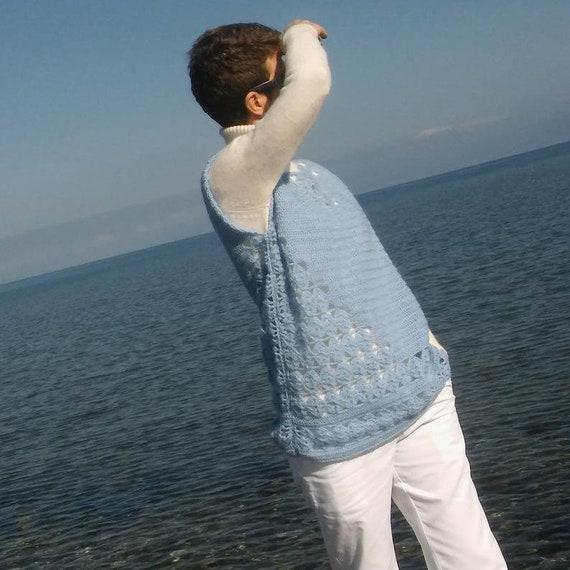 Sweater vest women Crochet wool sweater Blue swea… - image 3