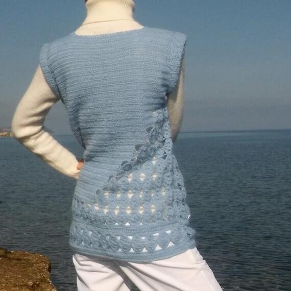 Sweater vest women Crochet wool sweater Blue swea… - image 2