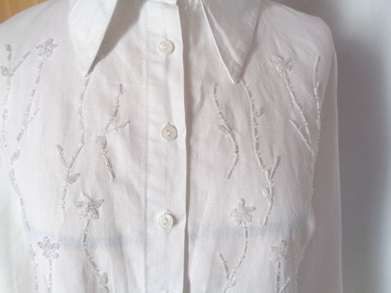 White embroidered blouse Button down shirt Vintage Bugle Beads Large size 46