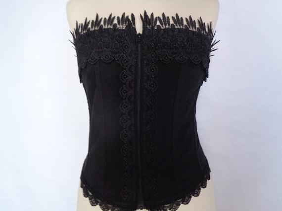 Corset top vintage Black corset top strapless Lac… - image 5