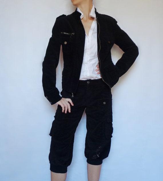 Women suit velvet Corduroy suit Black corduroy bla