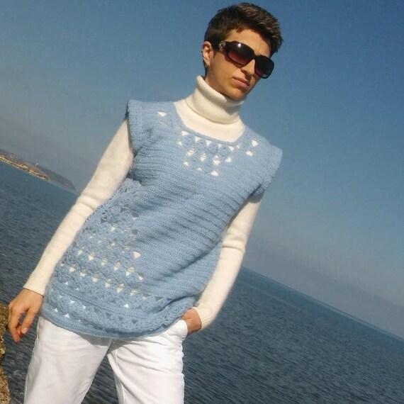 Sweater vest women Crochet wool sweater Blue swea… - image 1