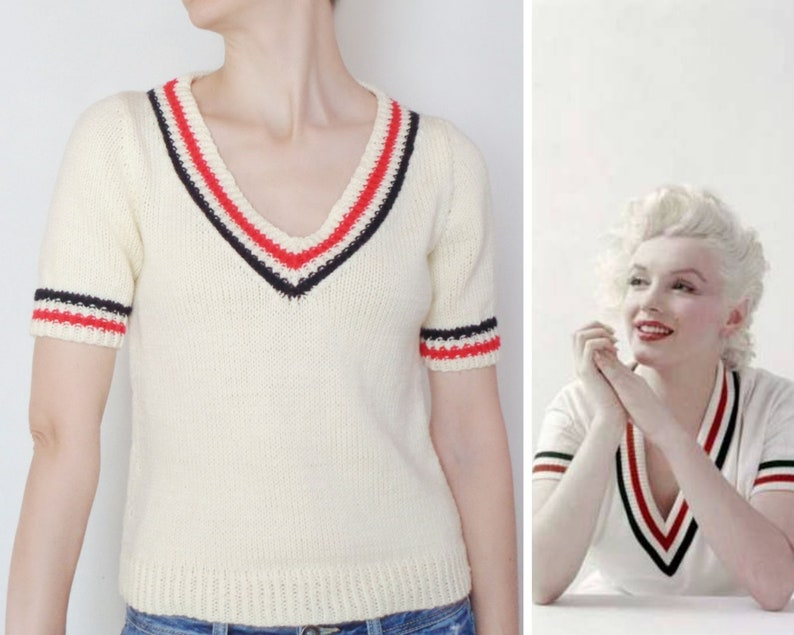 Marilyn Monroe Crop short sleeve tennis sweater V neck top Designer inspired Iconic