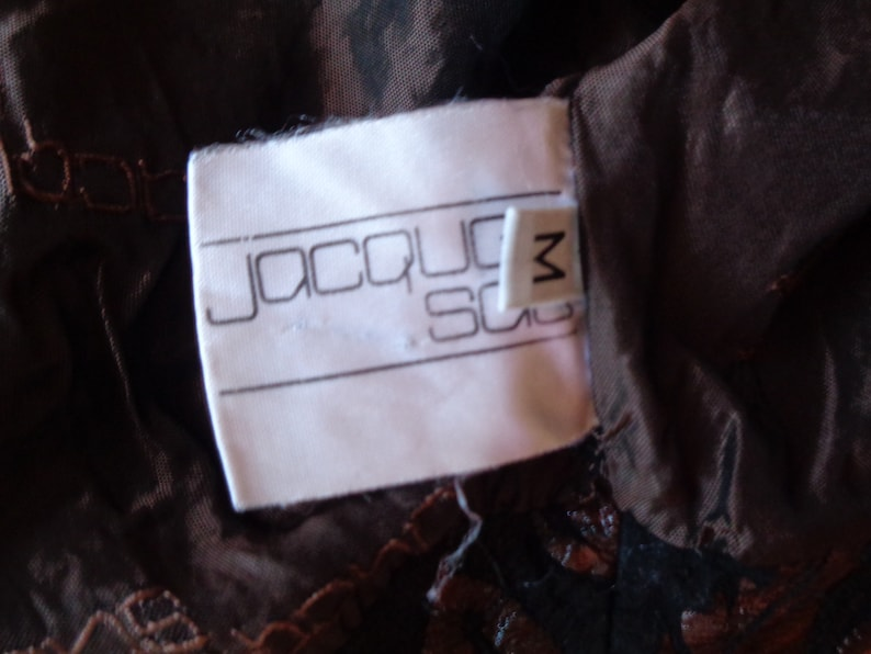 Painted leather jacket Cropped Batwing Floral Vintage Rare Jacques Sac Mediun size