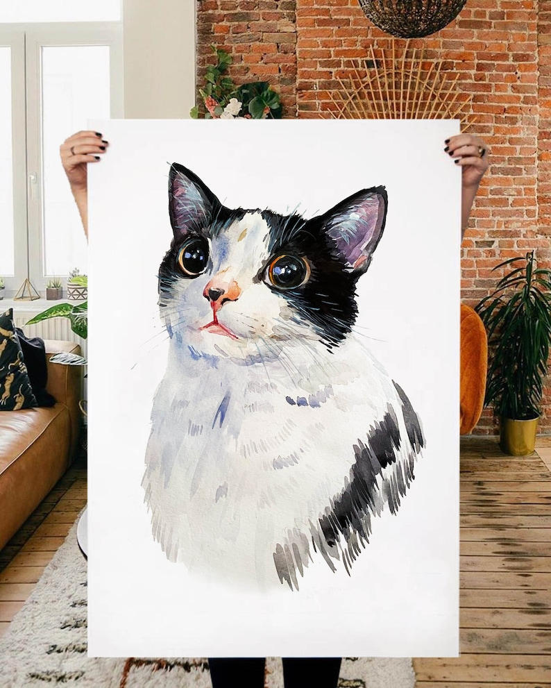 PEEKABOO TWO CATS portrait Two cats painting Pet portrait Custom cat portrait Pet loss gift Cats art Cat memorial gift Cat lover gift
