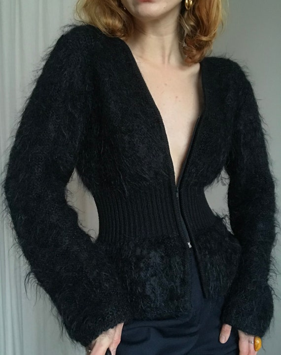 Vintage Mohair zip cardigan, fitted black fluffy m