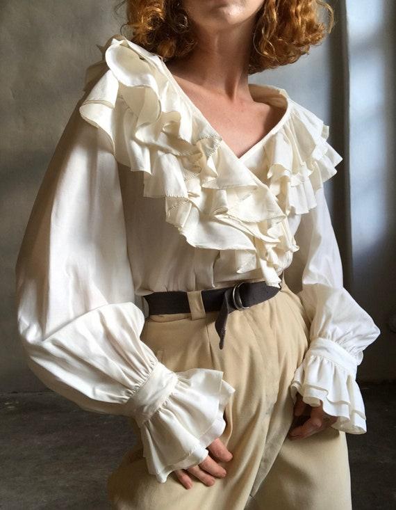 Vintage statement blouse, white puff sleeve ruffl… - image 1