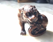 Exceptional early 20th century Hard Wood Japanese Netsuke in the form of a tiger