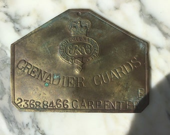 Of military interest an early 20th century brass Grenadier guards name plate