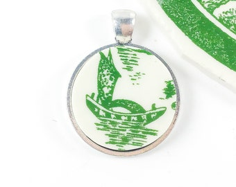 vintage green ironstone willow pattern vintage  pottery long tab earrings,sterling silver ear wires.